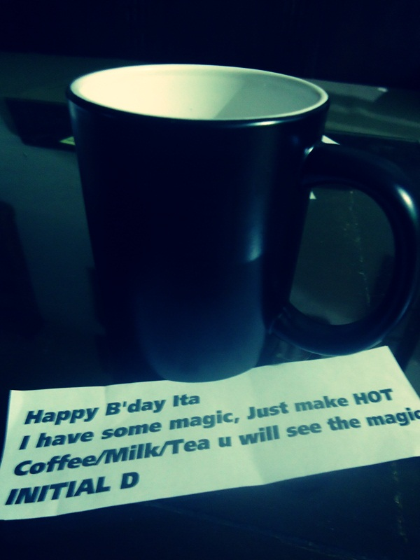 """Thanks for """"Initial D"""". Belum nyobain gimana perubahannya. Harus minum kopi ya? Kalau diganti susu, bisa tetep magic ga? Hhehe. Tapi tetep makasih ya!"""