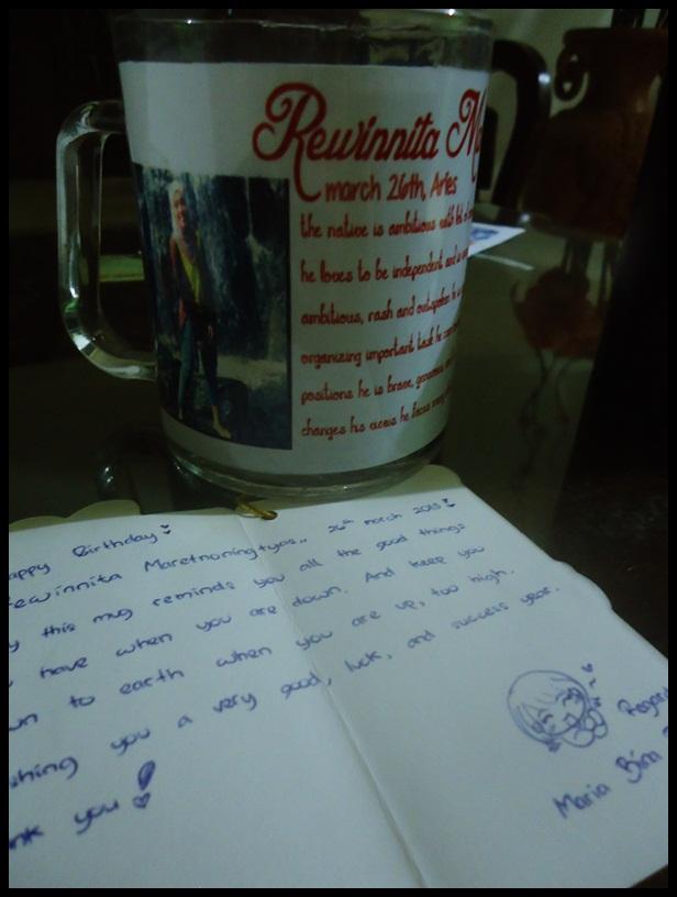 From Bince. Hahaha... Terharu sama tulisan di mug nya. Makasih ya bin, kamu banget lah pokoknya.